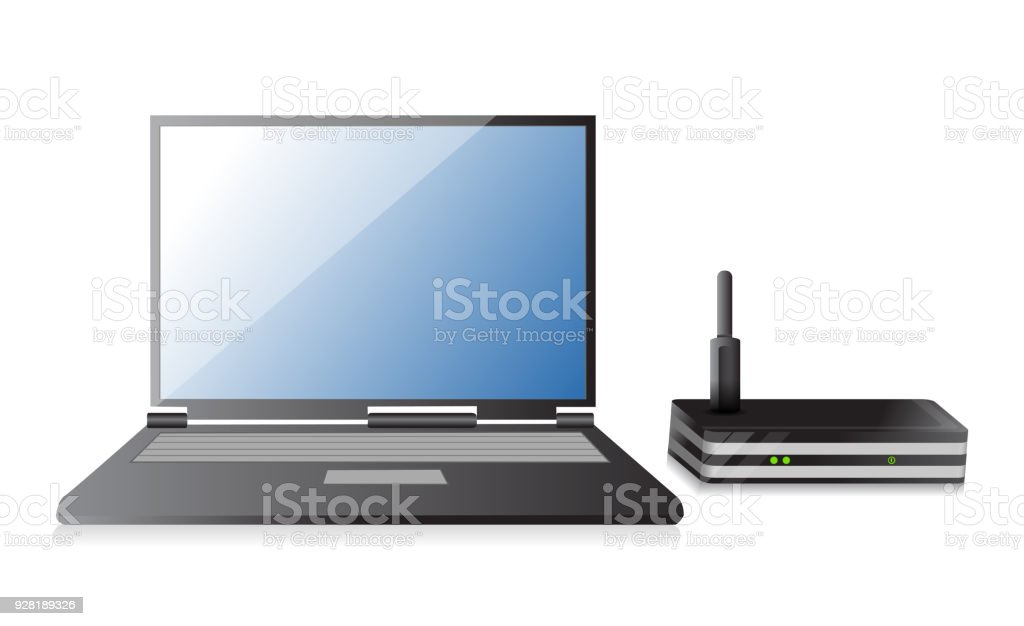 Wireless Router and laptop illustration design over a white background vector art illustration