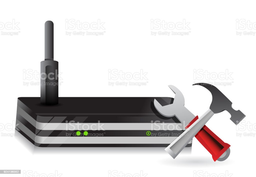 Wireless Router and tools illustration design over a white background vector art illustration