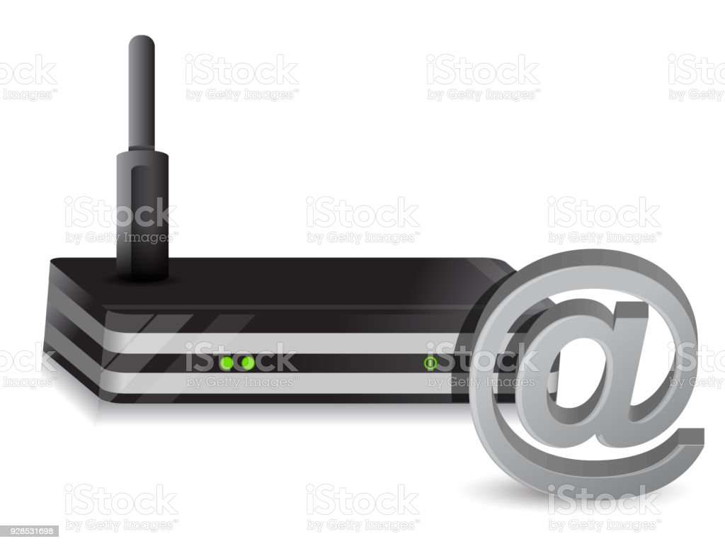 Wireless Router at sign internet illustration design over a white background vector art illustration
