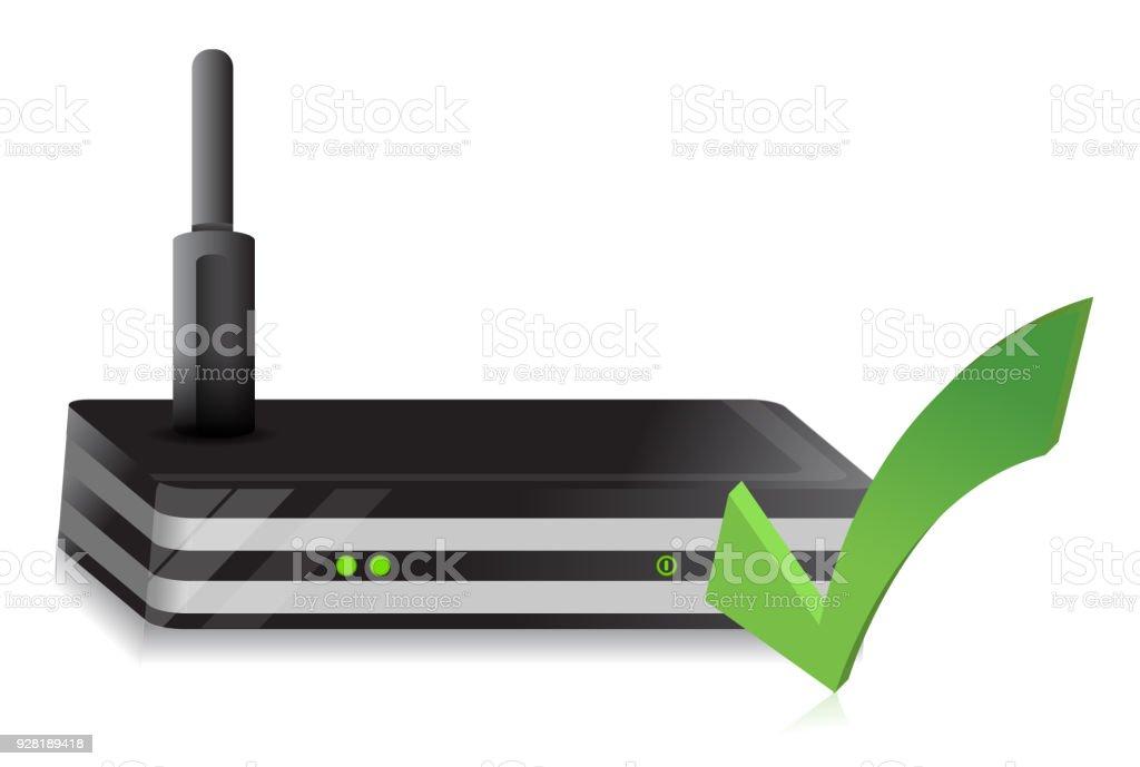 Wireless Router check mark illustration design over a white background vector art illustration