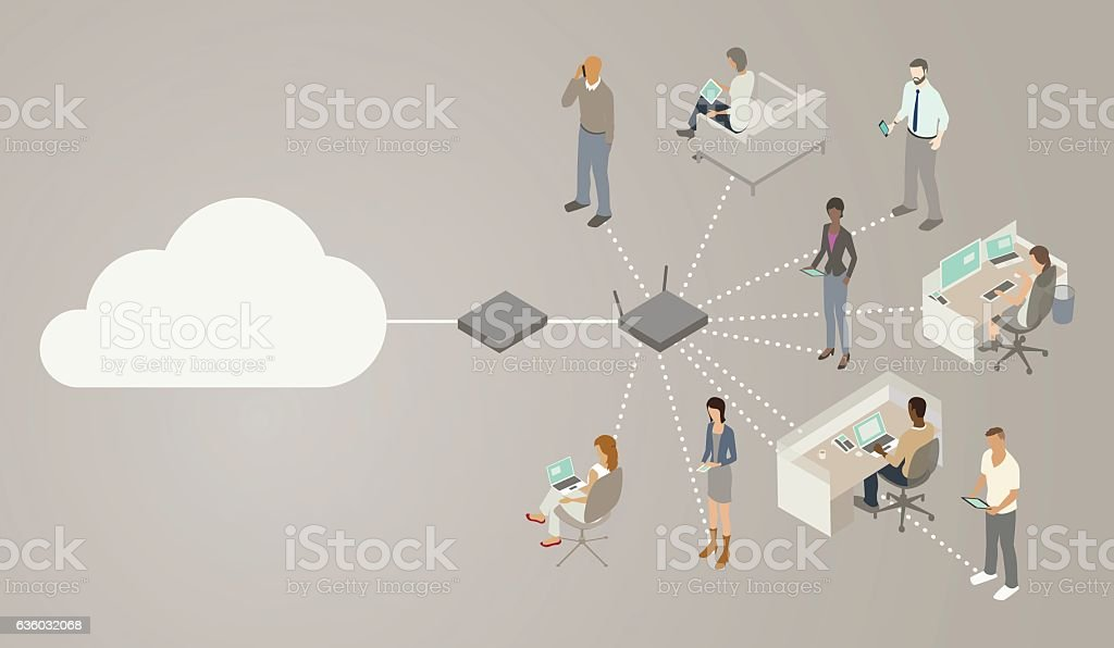 Wireless Router Diagram vector art illustration