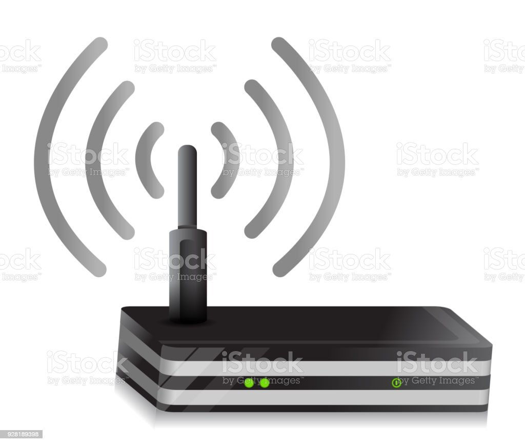 Wireless Router illustration wi-fi connection design over a white background vector art illustration