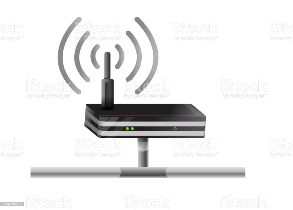 Wireless Router network illustration design over a white background vector art illustration