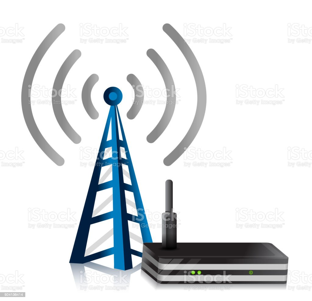 Wireless Router tower illustration design over a white background vector art illustration