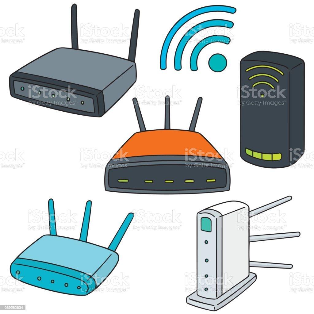 wireless router vector art illustration