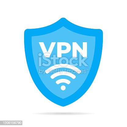 Wireless shield VPN wifi icon sign flat design vector illustration. Wifi internet signal symbols in the security shield isolated on yellow background.