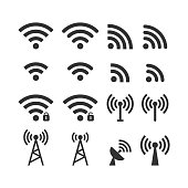 Wireless signal web icon set. Wi fi icons. Secured, unsecured, anthena, beacon password protected icons.