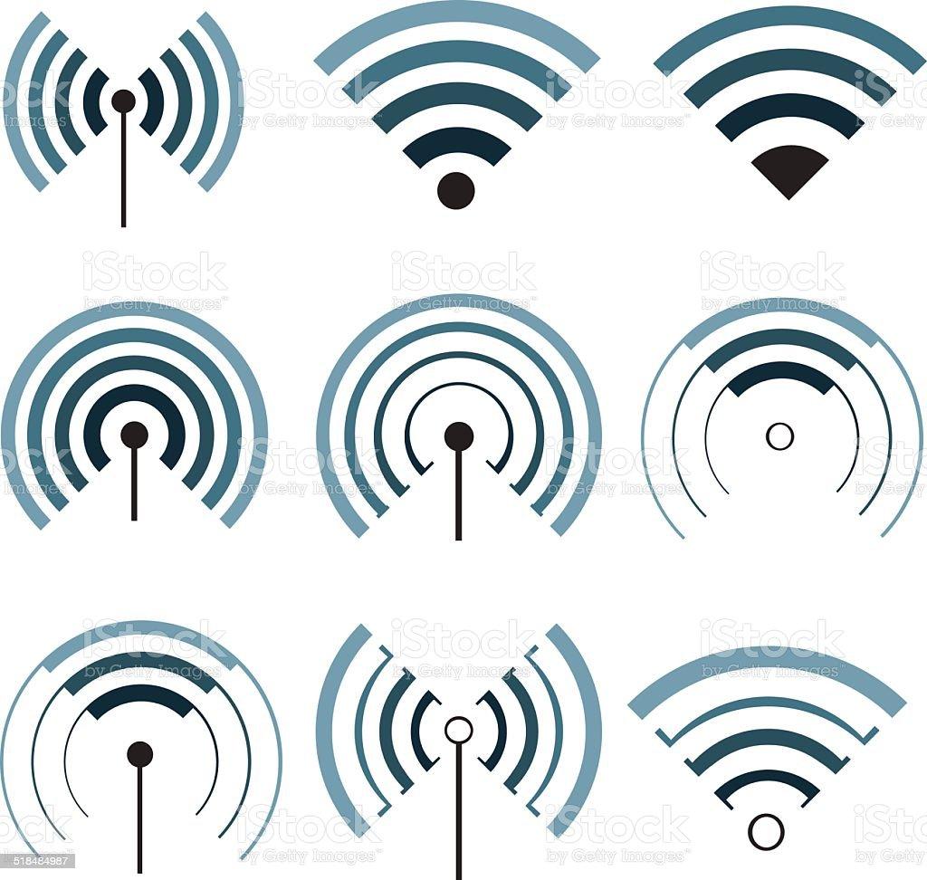 Wireless signals set vector art illustration
