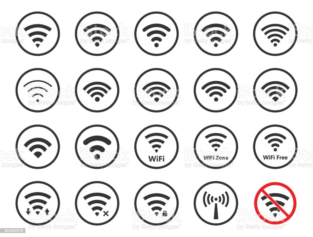 wireless signs set, wifi icons