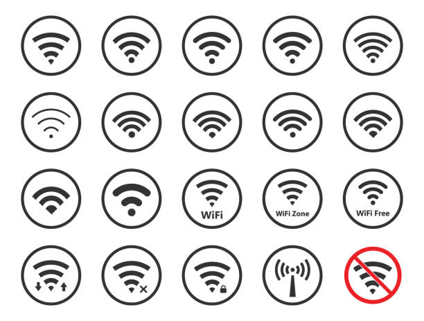 wireless signs set, wifi icons - wireless technology stock illustrations, clip art, cartoons, & icons