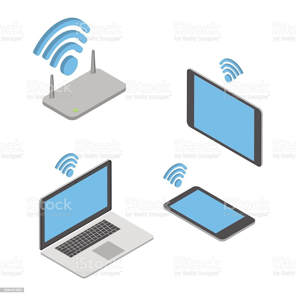 Wireless technologies. The concept of different wireless mobile devices. Isometric vector art illustration