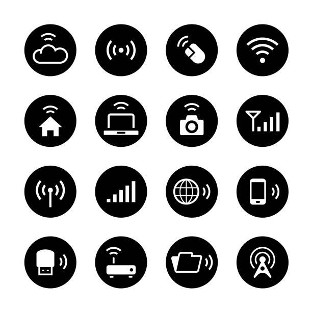 무선 기술 원형 아이콘 세트 - home icon stock illustrations