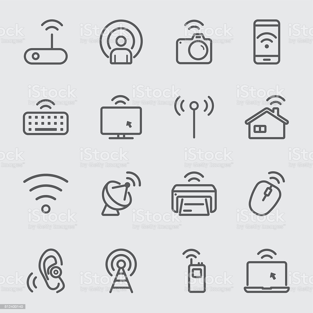 Wireless technology line icon vector art illustration