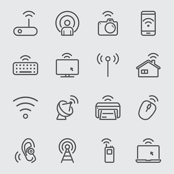 wireless technology line icon - astronomy telescope stock illustrations