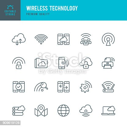 Set of Wireless Technology thin line vector icons