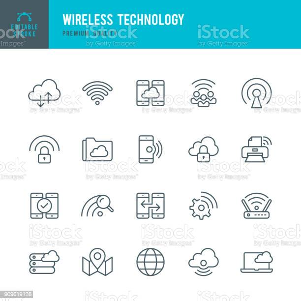 Wireless technology set of thin line vector icons vector id909619126?b=1&k=6&m=909619126&s=612x612&h=zeb phsp4vgxtsys29grxvkr1flmhz33uxxd sl3m28=