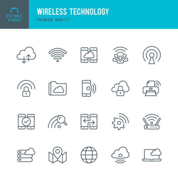 Wireless Technology - set of thin line vector icons vector art illustration