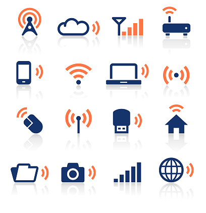 An illustration of wireless technology two color icons set for your web page, presentation, apps and design products. Vector format can be fully scalable & editable.