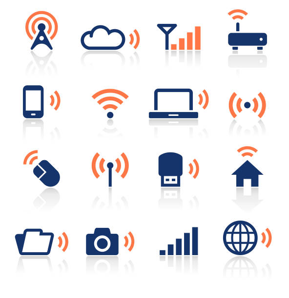 Wireless Technology Two Color Icons Set An illustration of wireless technology two color icons set for your web page, presentation, apps and design products. Vector format can be fully scalable & editable. broadcasting stock illustrations