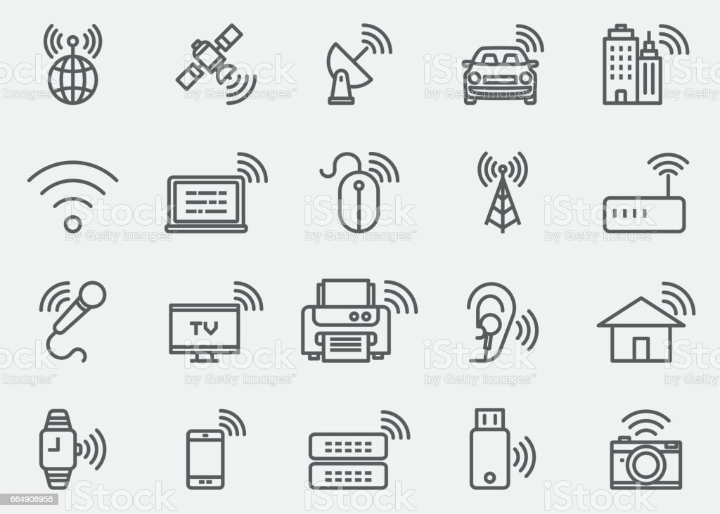 Wireless Technology WIFI lines Icons | EPS 10