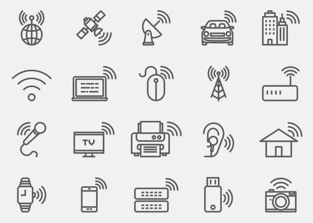 wireless-technologie wifi linien icons | eps 10 - rundfunk stock-grafiken, -clipart, -cartoons und -symbole