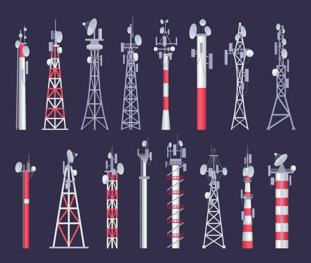 Wireless tower. Tv radio network communication satellite antena signal vector pictures Wireless tower. Tv radio network communication satellite antena signal vector pictures. Illustration of set radio tower and network transmission broadcasting antenna aerial stock illustrations
