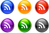 RSS/wireless updates icon/button set in 6 colors