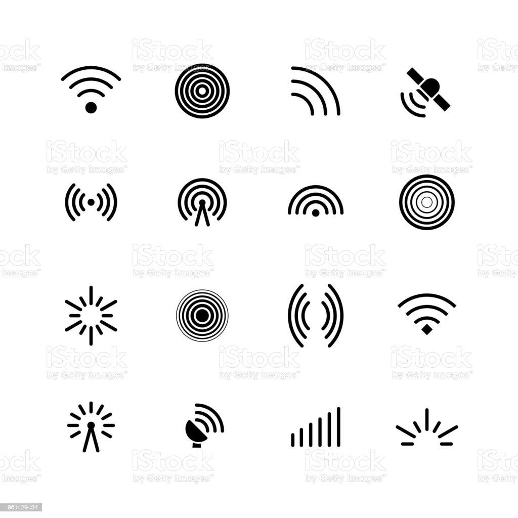 Drahtlose Wlan Und Radiosignalesymbole Antenne Mobilfunksignal Und ...