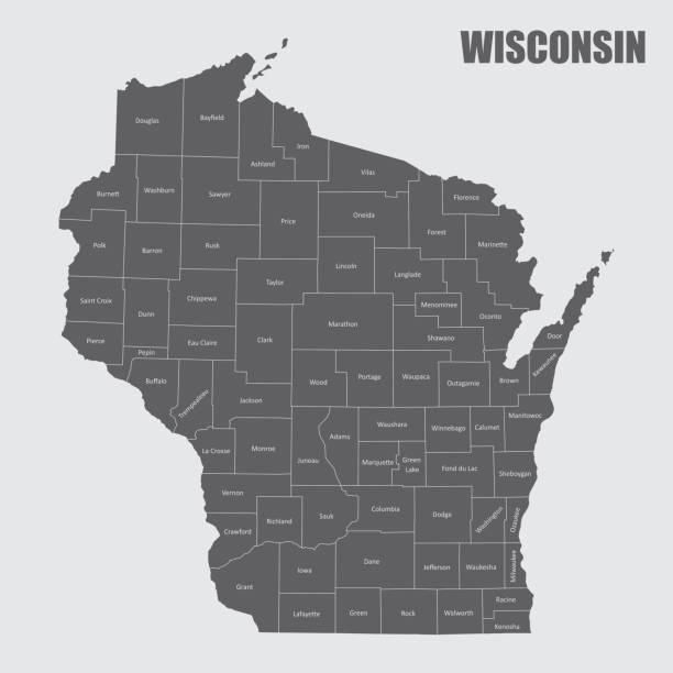Wisconsin counties map The Wisconsin state map and its counties with labels wisconsin stock illustrations