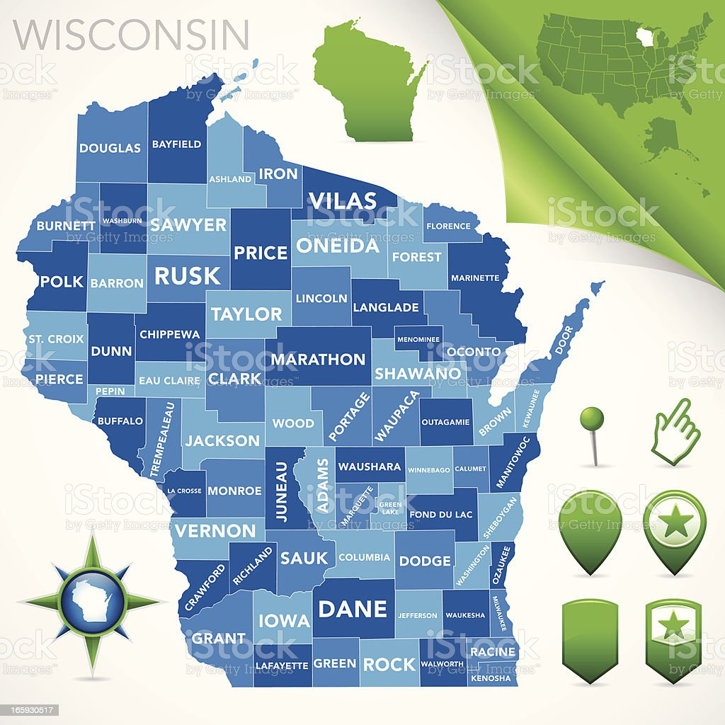 Wisconsin County Map Stock Illustration - Download Image Now ...