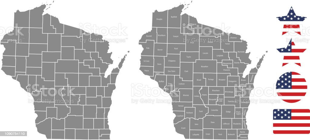 Wisconsin County Map Vector Outline In Gray Background Wisconsin ...
