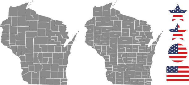 Wisconsin county map vector outline in gray background. Wisconsin state of USA map with counties names labeled and United States flag icon vector illustration designs The maps are accurately prepared by a GIS and remote sensing expert. wisconsin stock illustrations