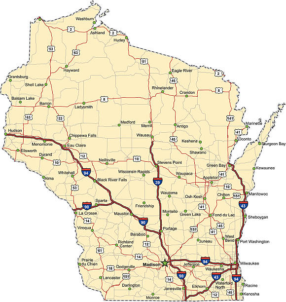 Wisconsin Highway Map (vector) Highway map of the state of Wisconsin with Interstates and US Routes.  It also has lines for state and county routes (but not labeled) and many cities on it as well.  All cities are the County Seats and the Capitol.  wisconsin stock illustrations