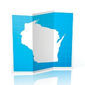 Wisconsin Map folded, isolated on white Background