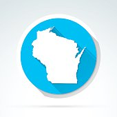 Wisconsin map icon, Flat Design, Long Shadow