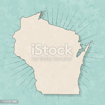 Map of Wisconsin in a trendy vintage style. Beautiful retro illustration with old textured paper and light rays in the background (colors used: blue, green, beige and black for the outline). Vector Illustration (EPS10, well layered and grouped). Easy to edit, manipulate, resize or colorize.