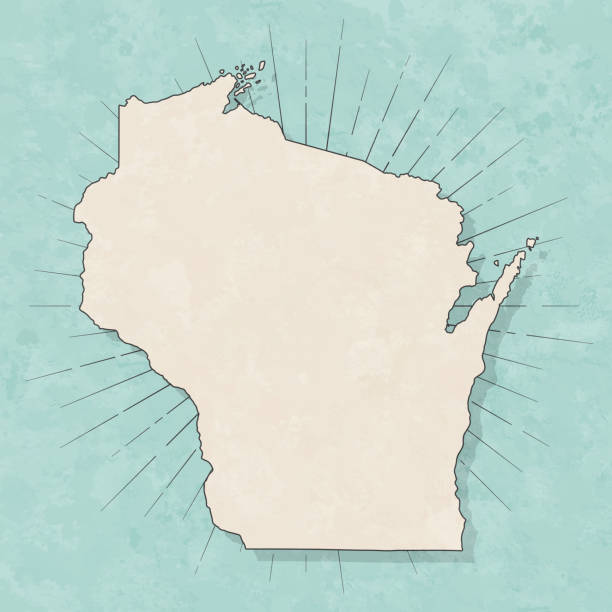 Wisconsin map in retro vintage style - Old textured paper Map of Wisconsin in a trendy vintage style. Beautiful retro illustration with old textured paper and light rays in the background (colors used: blue, green, beige and black for the outline). Vector Illustration (EPS10, well layered and grouped). Easy to edit, manipulate, resize or colorize. wisconsin stock illustrations