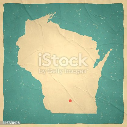 Map of Wisconsin with a retro style, a vintage effect on an old textured paper.