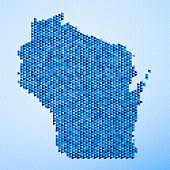 Wisconsin Map Triangle Pattern Blue