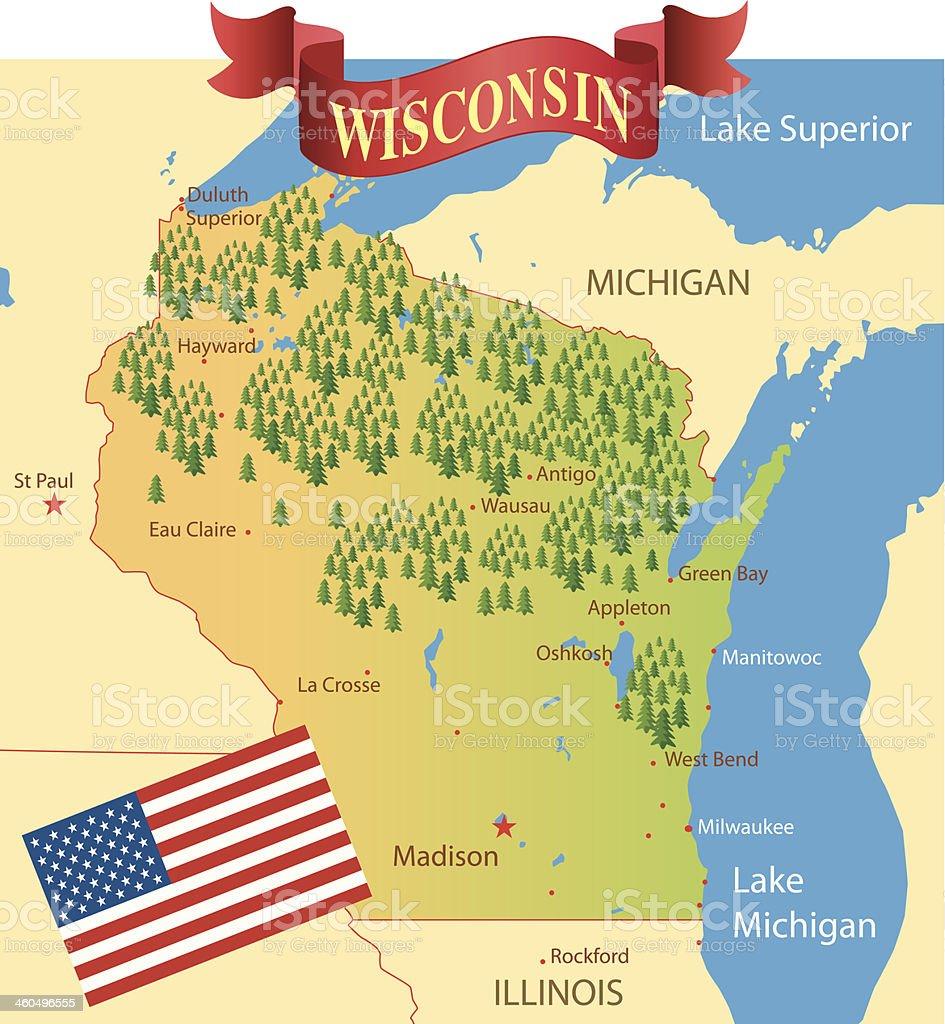 Carte Amerique Wisconsin.Carte Du Wisconsin Vecteurs Libres De Droits Et Plus D