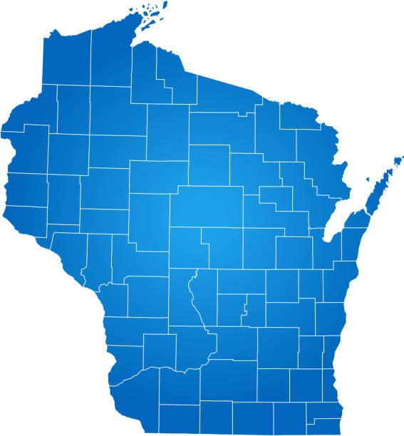 Wisconsin map – artystyczna grafika wektorowa