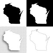 Wisconsin maps for design - Blank, white and black backgrounds
