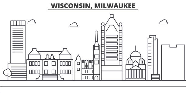 Wisconsin, Milwaukee City architecture line skyline illustration. Linear vector cityscape with famous landmarks, city sights, design icons. Landscape wtih editable strokes Wisconsin, Milwaukee City architecture line skyline illustration. Linear vector cityscape with famous landmarks, city sights, design icons. Editable strokes lakeshore stock illustrations