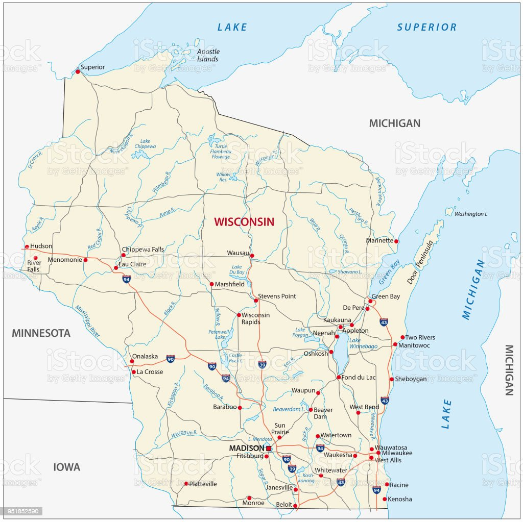 Wisconsin Road Map Stock Vector Art & More Images of Cartography ...