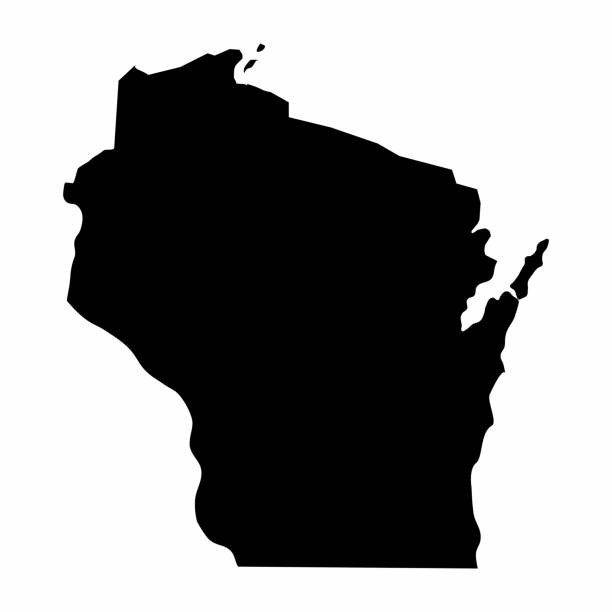 Wisconsin silhouette map Wisconsin dark silhouette map isolated on white background wisconsin stock illustrations