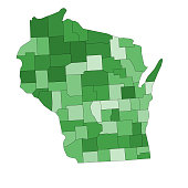 Wisconsin state map with counties