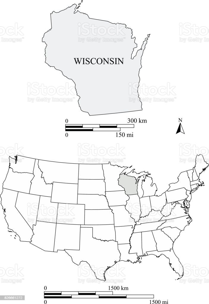 Wisconsin On A Us Map.Wisconsin State Of Us Map Vector Outline With Scales Of Miles And