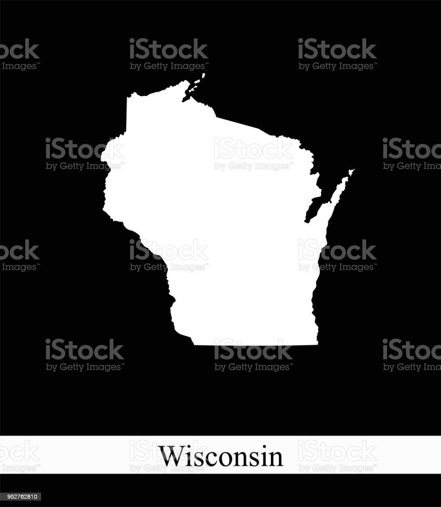 Wisconsin State Of Usa Map Vector Outline Illustration Black And ...