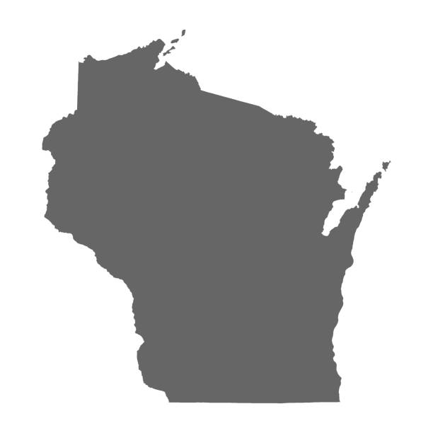 Wisconsin State vector map high detailed silhouette isolated on white background Wisconsin State vector map high detailed silhouette isolated on white background . wisconsin stock illustrations