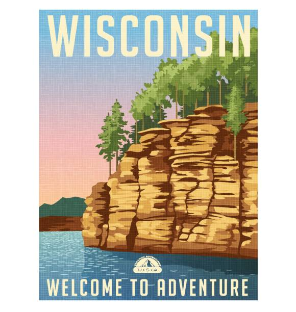 Wisconsin travel poster or sticker. Vector illustration of sandstone bluffs on the Wisconsin River. Wisconsin travel poster or sticker. Vector illustration of sandstone bluffs on the Wisconsin River. cliff stock illustrations